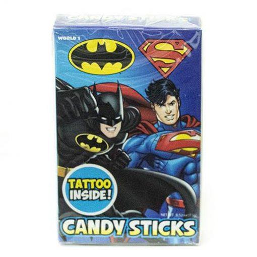 World Batman & Superman Candy Sticks & Tattoo 15 g